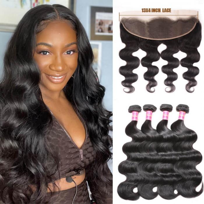 4 Bundles Body Wave Virgin Hair Weave With Lace Frontal Closure 13x4 Soft Nadula Human Hair