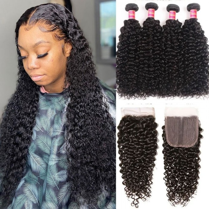Nadula Brazilian Jerry Curly Middle Part Closure With 4 Bundles Human Hair Weave Good Quality