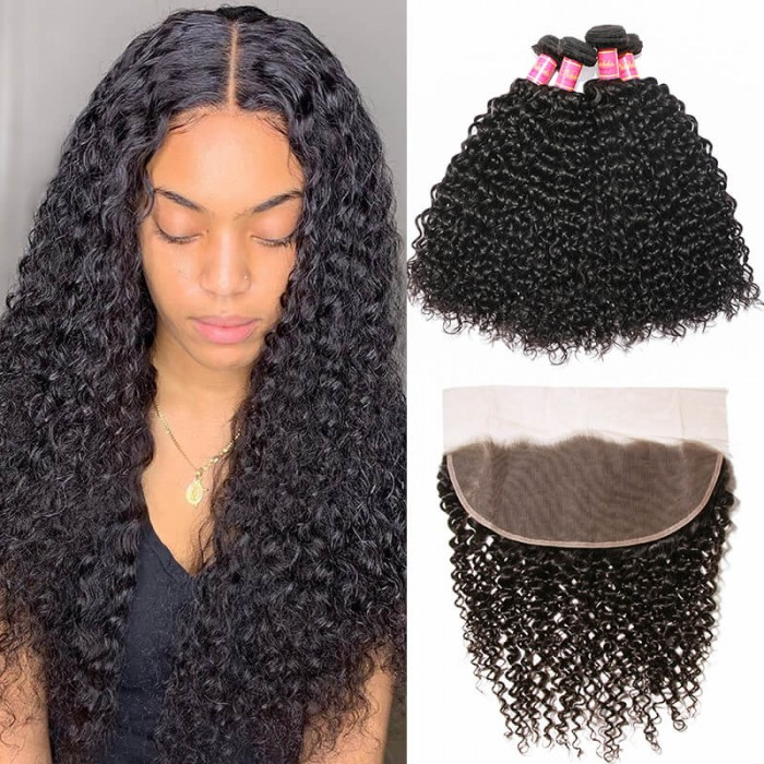 4pcs Curly Virgin Hair Bundles With Lace Frontal Closure 13x4 Nadula Soft Human Hair Weave