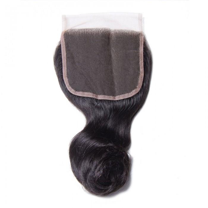 Nadula Free Part Virgin Human Hair 4×4 Lace Closure Loose Wave Natural Color