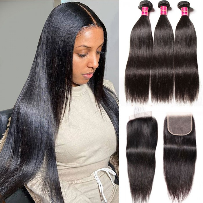 Nadula Best HD Lace Closure With 3 Bundle Soft Straight Hair Bundles Realistic Hairline