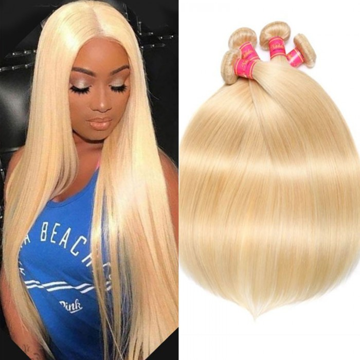 Nadula 4 Bundles 613 Blonde Hair 100% Virgin Human Hair Straight Wave Hair Weave
