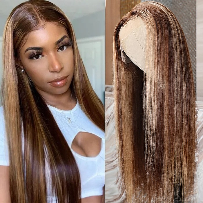 Nadula Brown Wig With Baby Hair Blonde Highlight Straight Lace Front Wigs For African American Women 150% Density