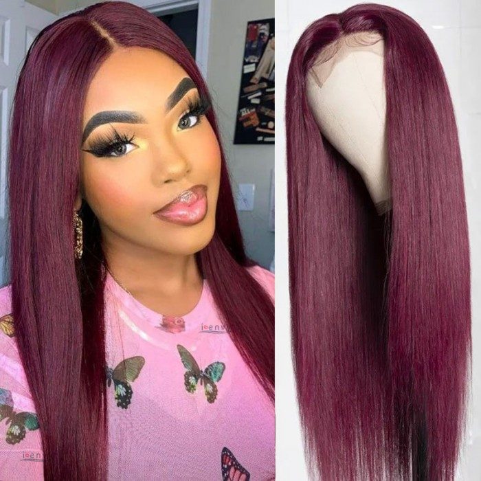 Nadula Colored 99J Burgundy Straight Wigs 4*0.75 Inch T Part Hand-Tied Lace Wig Invisible Knots Human Hair Wig