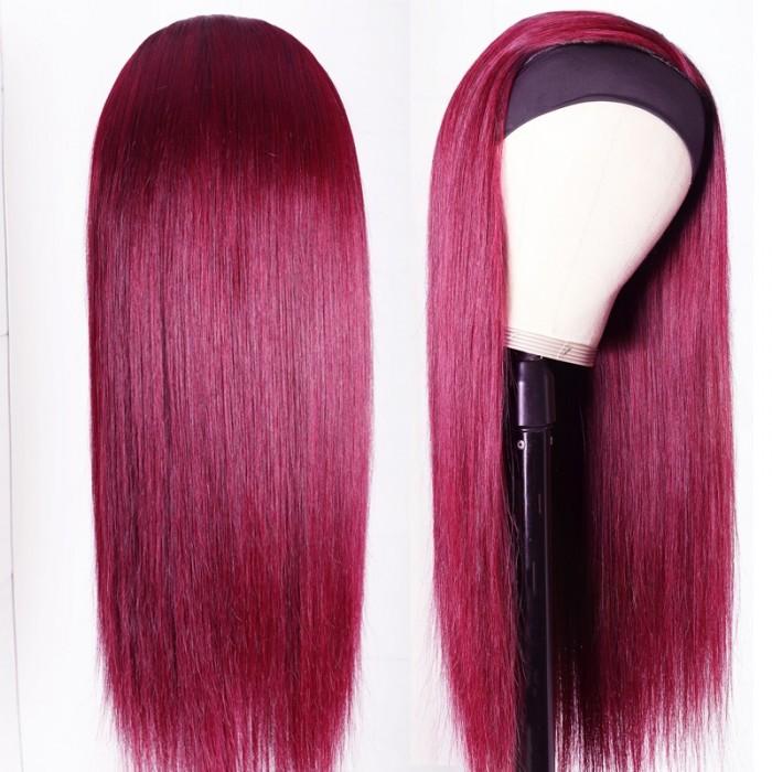 Nadula 22 and 24 Inch Straight Human Hair Headband Wigs Burgundy Wigs