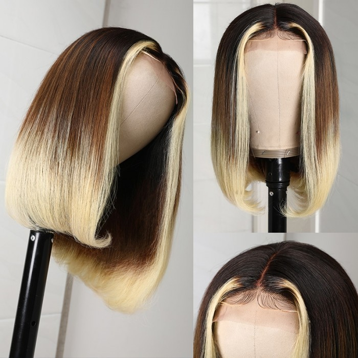 Ombre Blonde Short Bob Wigs 613 Color Straight Bob Wigs With Dark Root T Part Colored Human Hair Bob Wigs Face Framing