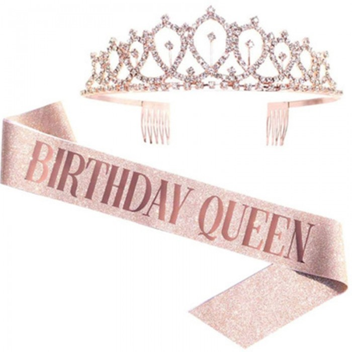 Nadula Member Exclusive Birthday Gift Pink Birthday Party Shoulder Strap Crown Set Only Birthday Month Available Ship With Hair Order