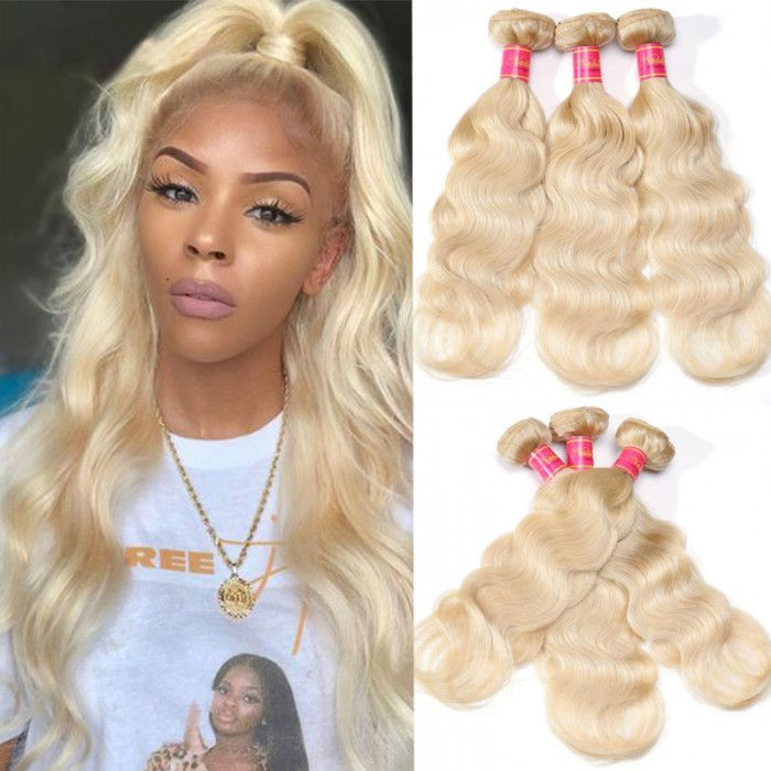 Nadula Hair 613 Blonde Virgin Human Hair Wave 3 Bundles Body Wave Hair Weft
