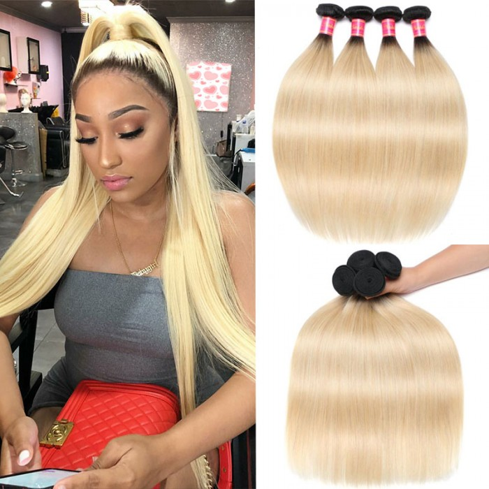 Nadula Quality Straight Ombre Hair Weave 3 Bundles 2 Tone Color Ombre Human Hair Extensions
