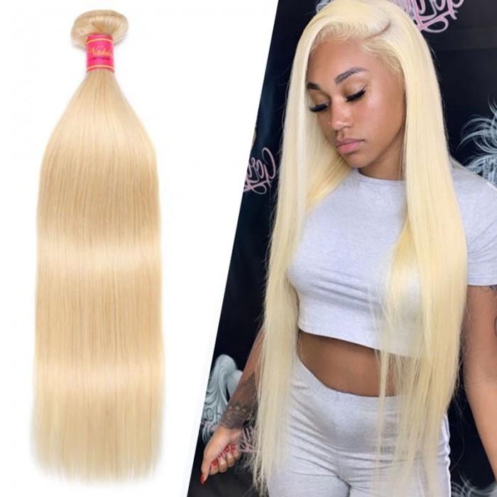 Nadula Hair 613 Blonde Virgin Human Hair Extension Bundles 16-24 Inch 1PCS Straight Hair