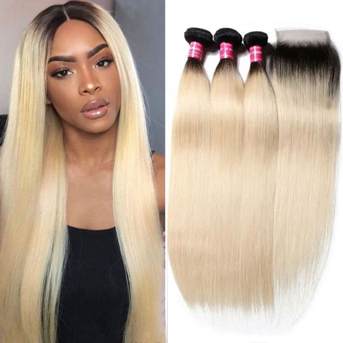 Nadula Straight Virgin Hair 2 Tone Color Ombre 3 Bundles With Lace Closure Soft Unprocessed Virgin Human Hair