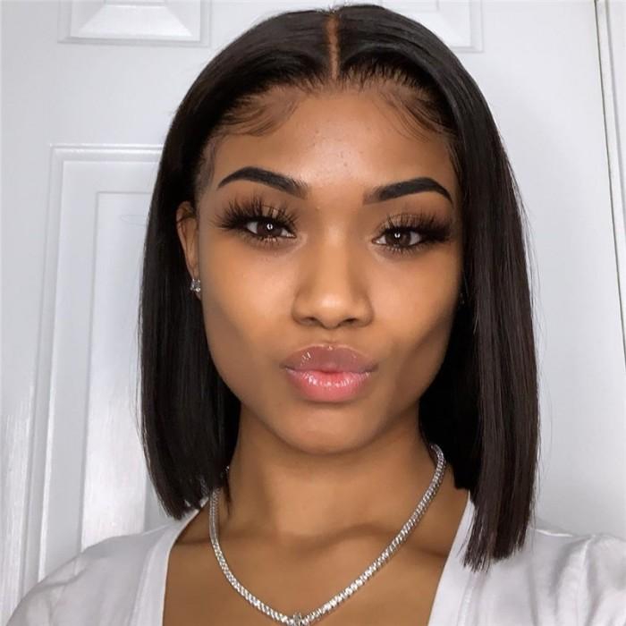 Nadula Straight Short Bob Wig Lace Frontal 130% Density Wig Pre Plucked 100% Human Hair Super Soft