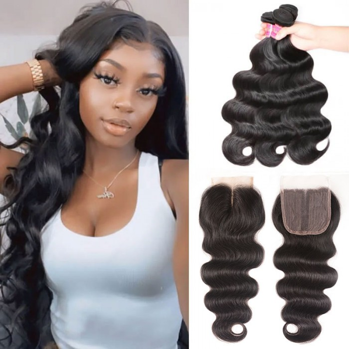 Nadula 3 Bundles Virgin Human Hair Weave Body Wave Hair With New In Cost-effective T Part Lace Closure