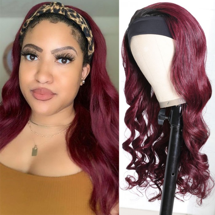 Nadula Ombre 99J Color Body Wave Wigs 100% Human Hair Headband Wigs Beginer Friendly