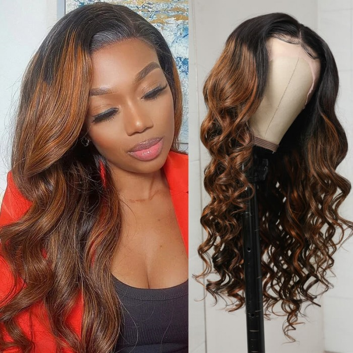 Nadula Highlight Wigs 13x4 Lace Front Human Hair Wigs Body Wave Pre Plucked Ombre Brown Human Hair Wigs 150% Density