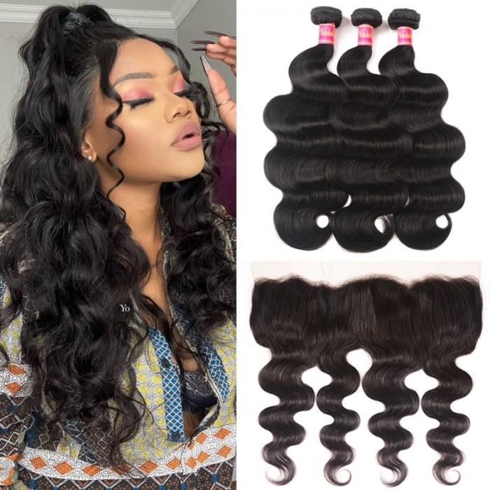 Body Wave Virgin Hair 3 Bundles With Lace Frontal Closure 13x4 Wholesale Nadula Human Hair Weave