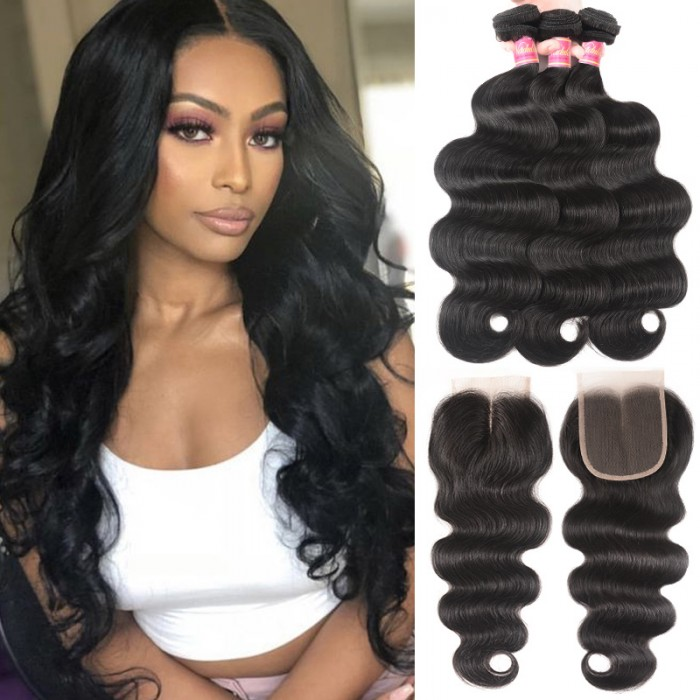 Body Wave Virgin Hair Weave 3 Bundles With Lace Closure Nadula Best Virgin Remy Human Hair