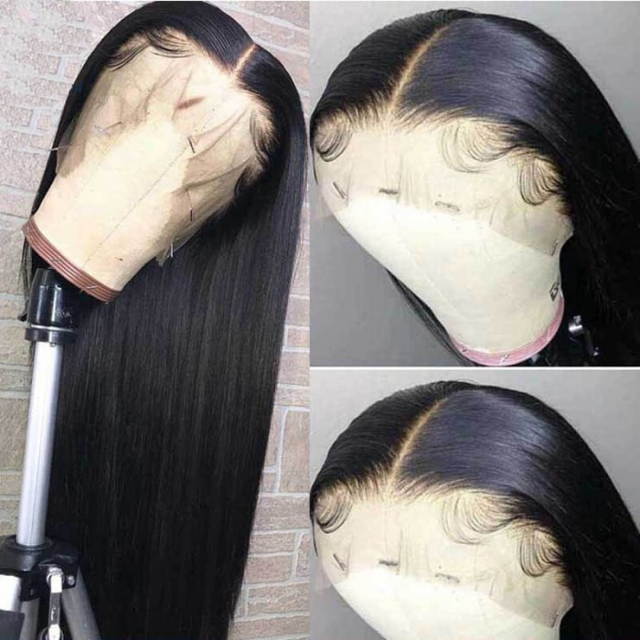 Nadula 13×6 Lace Front Wig Brazilian Straight Hair Remy Human Hair Pre Pluck 150% Density Wigs