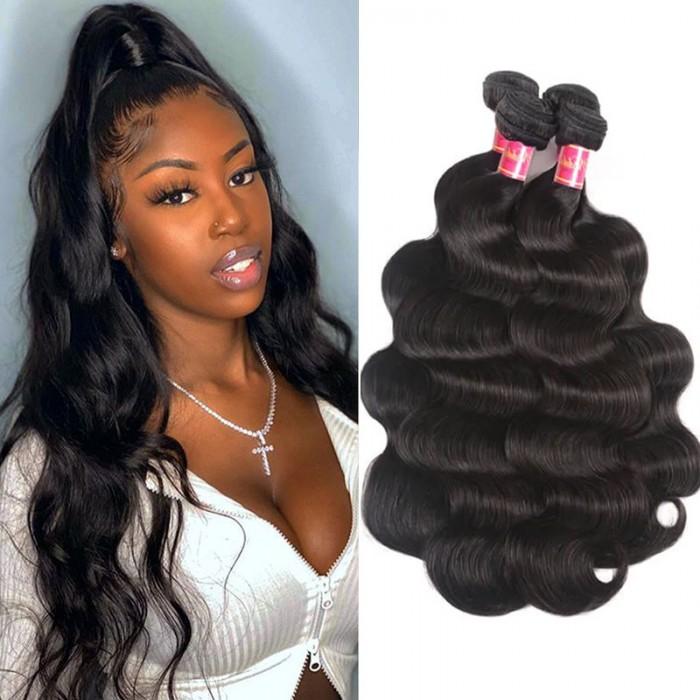 Nadula Quality Brazilian Hair 4 Bundles Pcs Natural Black Virgin Brazilian Hair Body Wave Human Hair Weaving