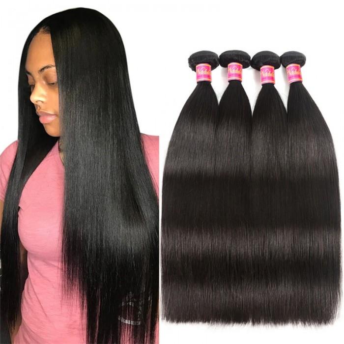 Nadula High Quality Brazilian Hair Bundles 4 Pcs Soft Virgin Brazilian Hair Weave Straight 8in-30in