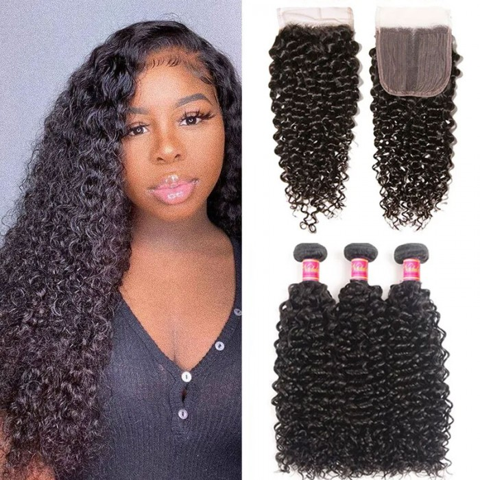 Nadula Jerry Curly Virgin Hair 3 Bundles With T Part Closure Unprocessed Virgin Human Hair