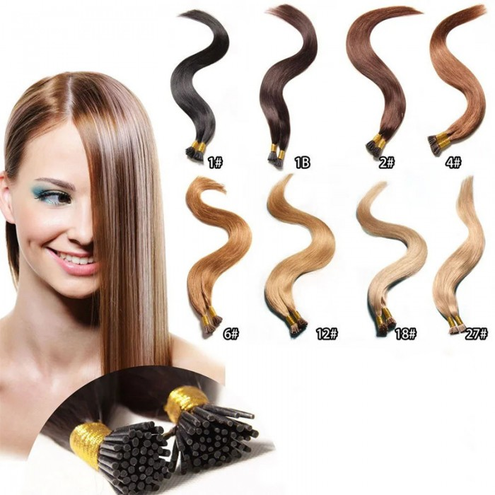 Nadula Quality Remy I Tip Human Hair Extensions 50G Wholesale Full Head For Thin Hair #2 #12