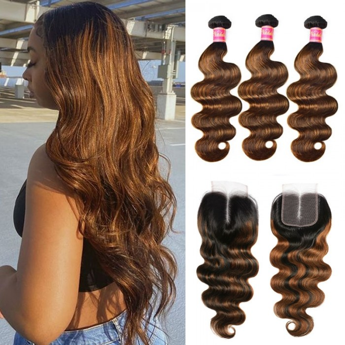 Nadula Highlight Ombre Human Hair Bundles With Closure Balayage Color Body Wave 3 Bundles With Lace Closure