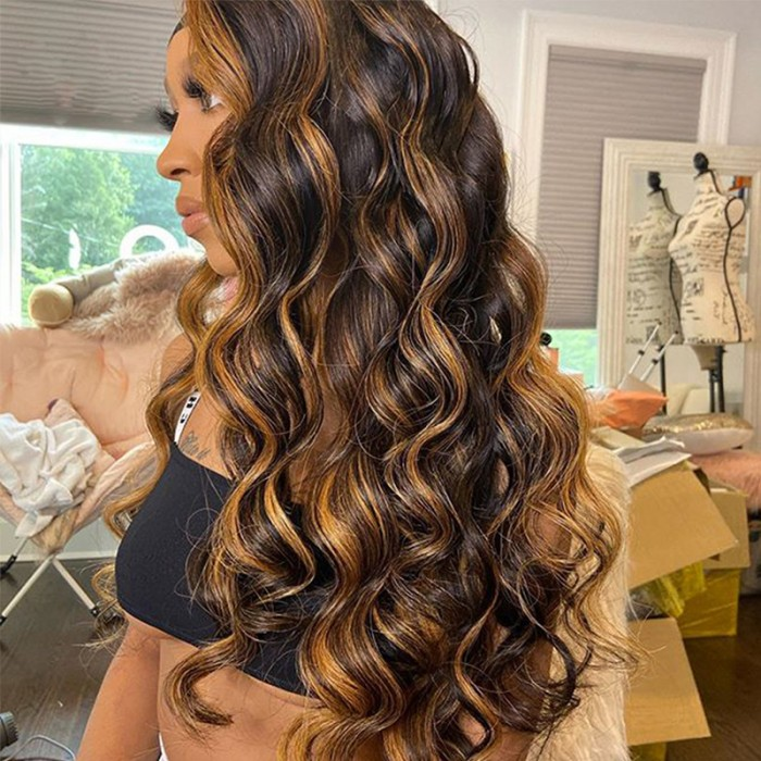 Nadula Middle Part Body Wave Human Hair Wigs Brown Color Lace Wigs With 30 Color Highlights 150% Density