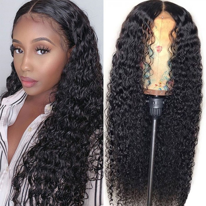 Nadula Jerry Curly 4 By 4 By 0.75 Inch Middle Part Lace Closure Wig 100% Virgin Human Hair