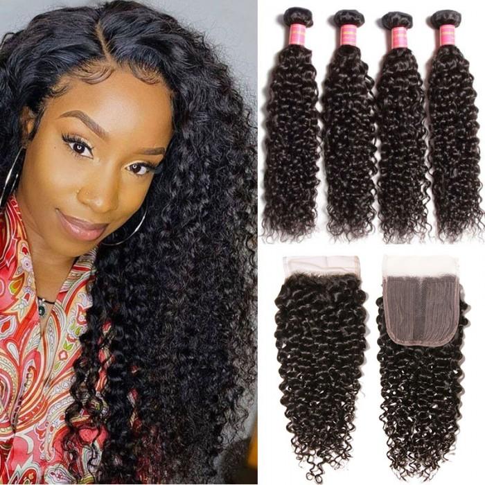 Nadula 4pcs Unprocessed Curly Hair Bundles With 4*0.75 Inch Lace Closure T Part