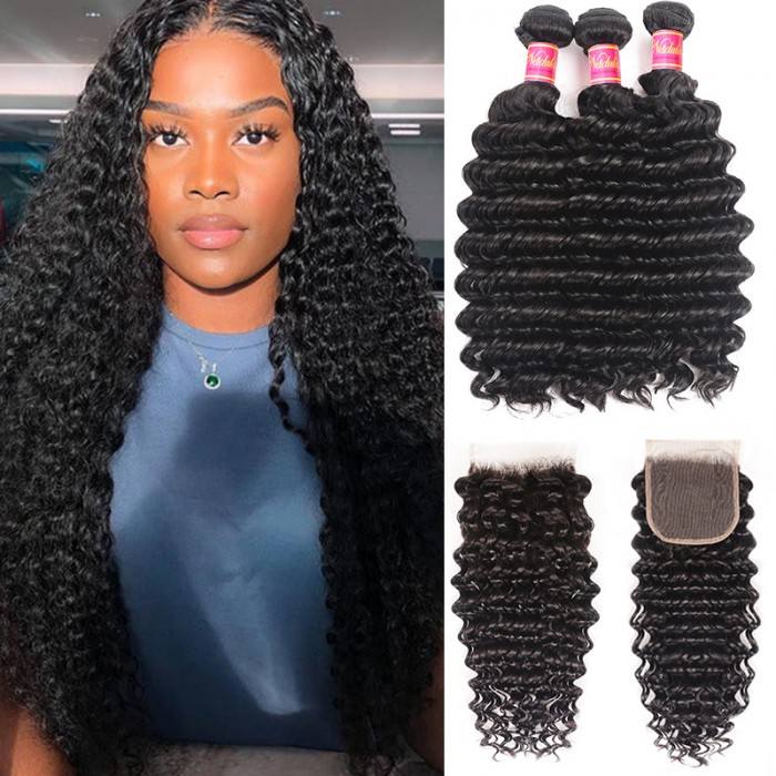 Nadula Deep Wave Virgin Hair Weave 3 Bundles With Lace Closure Soft Unprocessed Virgin Human Hair