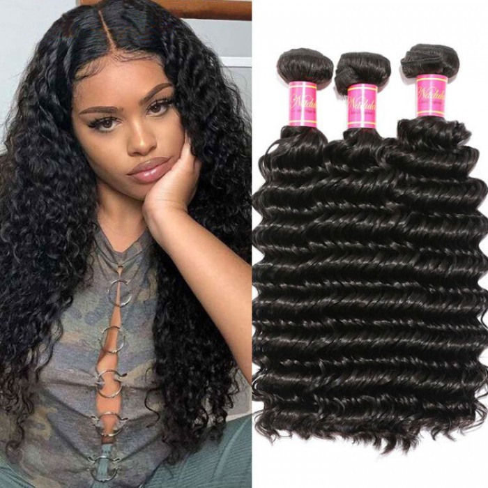 Nadula Unprocessed Brazilian Virgin Hair Deep Wave 3 Bundles Soft Best Human Hair Weave