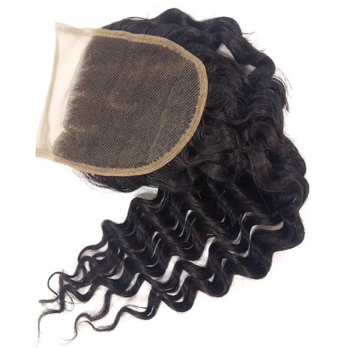 Nadula Deep Wave Virgin Hair Lace Closure Free Part 10in-20in Closure Free Shipping