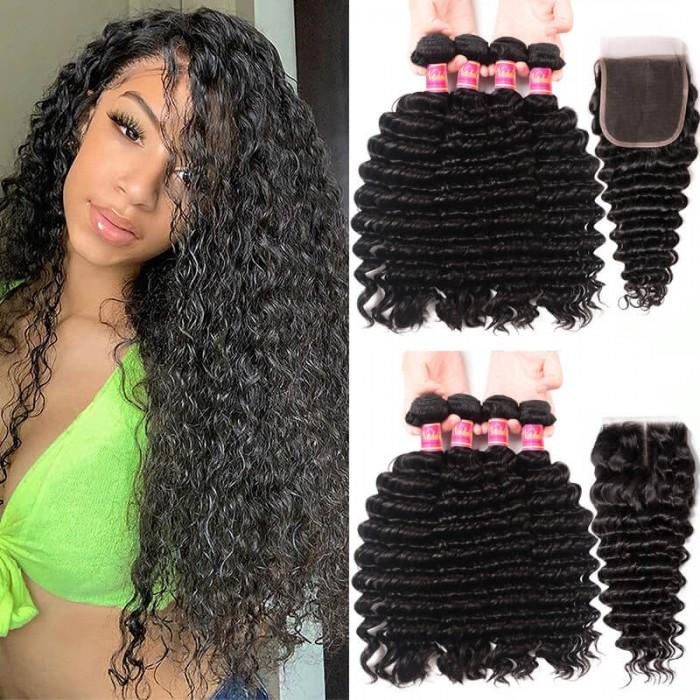 Deep Wave Nadula Virgin Hair Weave 4 Bundles With Closure 12in-26in Virgin Hair With 10in-20in Lace Closure