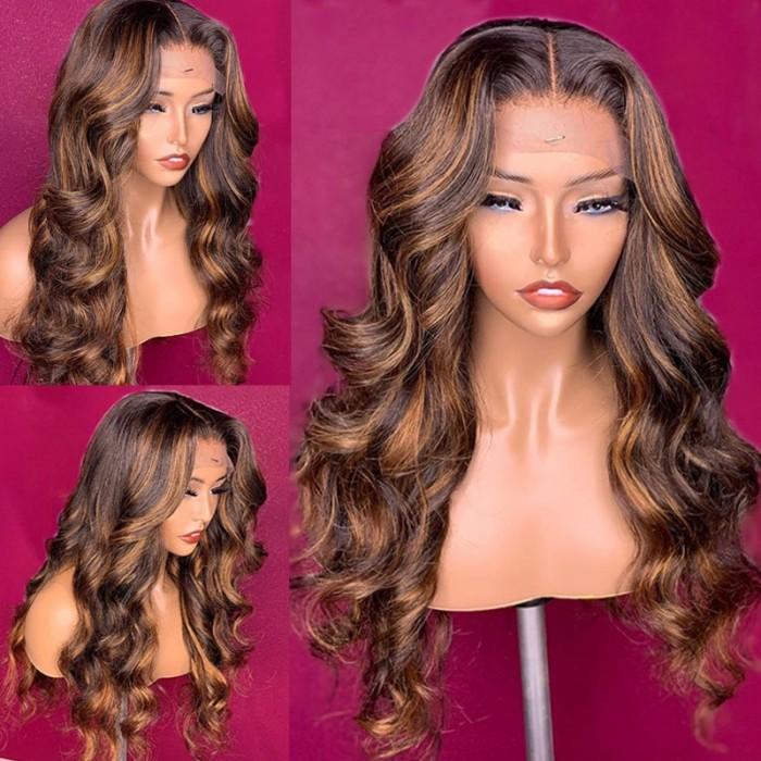 Nadula Brown Highlight Human Hair Wigs Brazilian Body Wave Hair Wigs Colored Wigs With Caramel Balayage For Black Women