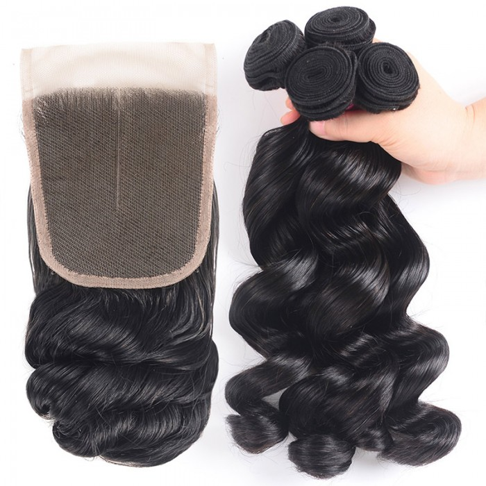Nadula Human Hair Loose Wave 4X4 Lace Closure With Hair Weave 4 Bundles Free Shipping