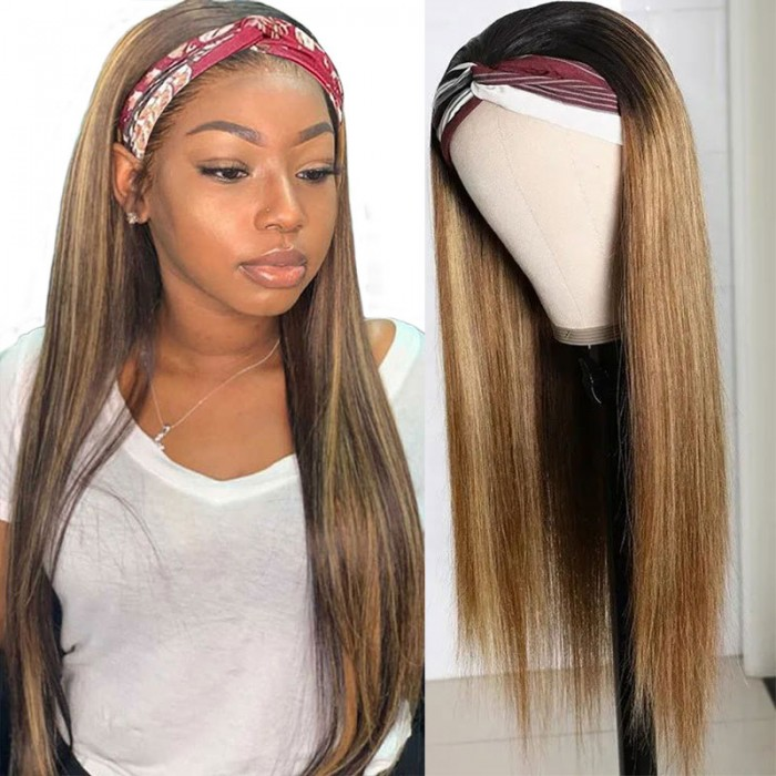 Nadula Black Roots Blonde Hair Ombre Half Wig With Headband 1BTL412 Color Remy Wig With Adjustable Straps 150% Density