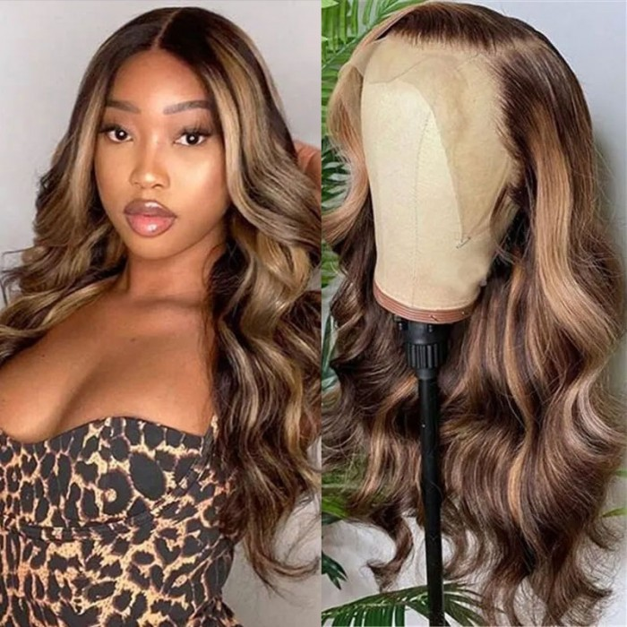 Nadula Piano Honey Blonde Body Wave Lace Front Wigs Shadow Root Highlight Human Hair Wigs Ombre Wig Body Wave 150% Density
