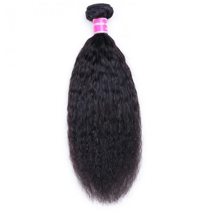 Nadula Virgin Hair Kinky Straight Brazilian Hair Weave 1 Bundle 8-26 Inch Free Fast Shipping