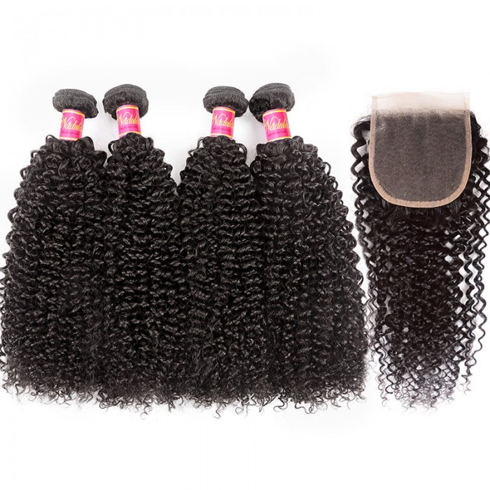 Nadula Kinky Curly 4 Bundles With 4×4 Lace Closure Unprocessed Human Hair Weave