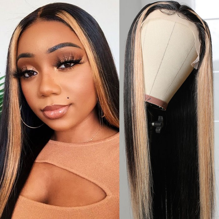 Nadula Highlight Straight Hair Wigs 150% Density Human Hair Lace Part Wigs Middle Part Side Part Available