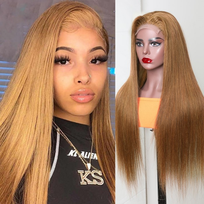 Nadula #8 Color Ginger Orange Straight Hair Wigs 150% Density Brazilian Human Hair Wigs 4x0.75 Inch Lace Size