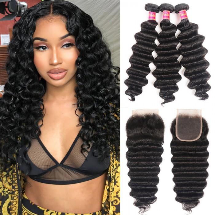 Nadula 3 Bundles Loose Deep Wave Bundles With 4x4 Lace Closure Soft Unprocessed Virgin Human Hair