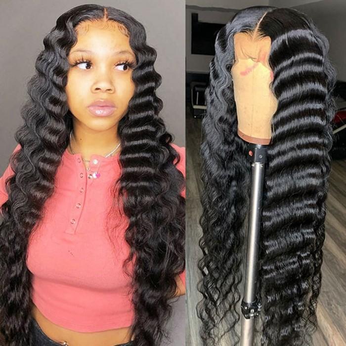 Nadula Loose Deep Wave Wigs Long Natural Black Human Hair Lace Front Wigs 150% Density