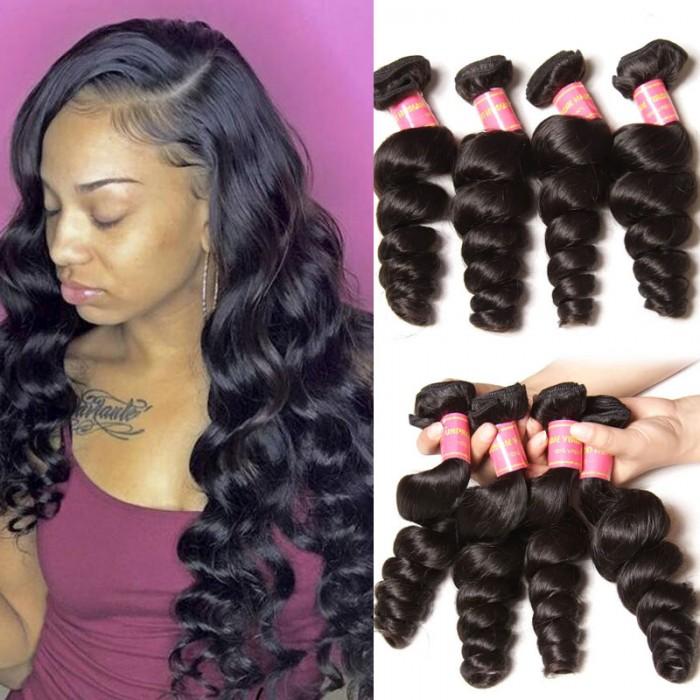 Nadula 4 Bundles Virgin Brazilian Loose Wave 16in-26in Quality Brazilian Virgin Human Hair Weaving Free Shipping