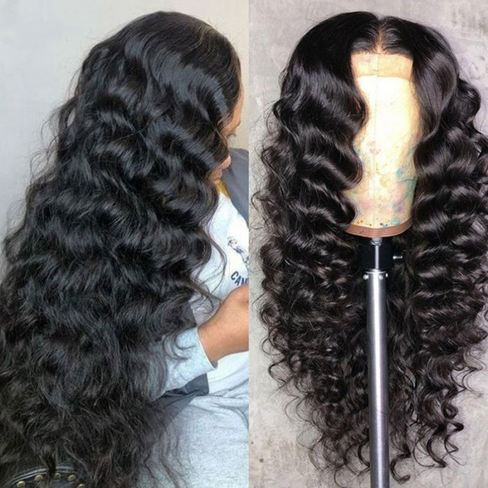 Nadula Loose Wave 13x4 Lace Front Wig Glueless Natural Black Human Hair Wigs Pre Plucked