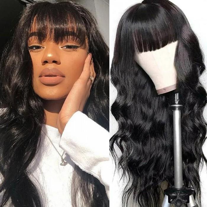 Nadula 100% High-quality Virgin Human Hair Capless Wigs Body Wave Hair With Bangs 150% Density Wig