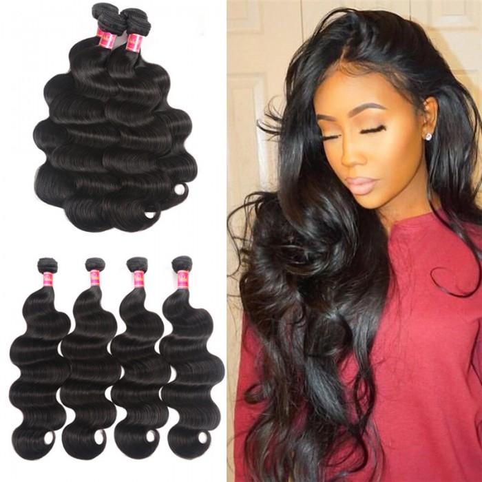 Nadula Soft Brazilian Virgin Hair Body Wave 4 Bundles Natural Human Hair Weave For Sale