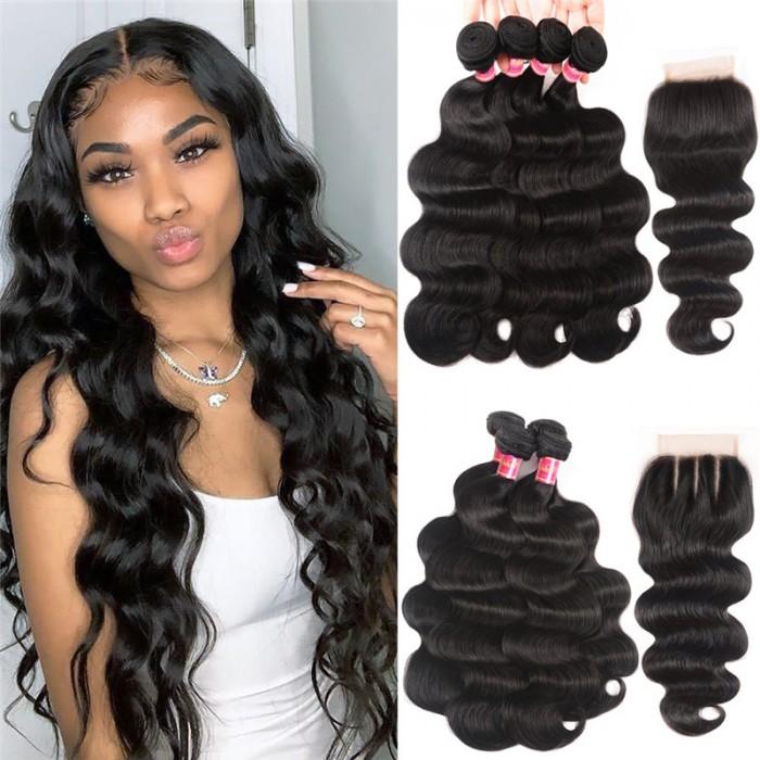 Nadula 4 Bundles Body Wave Hair Weave With 4*4 Lace Closure 100% Unprocessed Virgin Human Hair