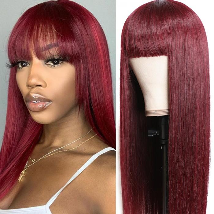Nadula #99j Wig Straight Wig With Bang Burgundy Red Wig Capless Long Wig Glueless 100% Human Hair Wigs